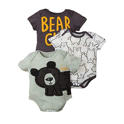 Haokaini Unisex Baby Strampler 3er Pack Dinosaurier Bär Gedruckter Overall für Neugeborene Jungen Jungen Mädchen(Bär,3-6 Monate)