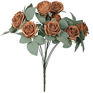 Silk Flower Arrangements VWMYQ 10 Heads Vintage Artificial Rose Decoration Silk Flowers with Stems Bouquets for DIY Fall Flower Wall Wreath Wedding Party Home Hotel Office Baby Shower Indoor Décor NO VASE (Brown)