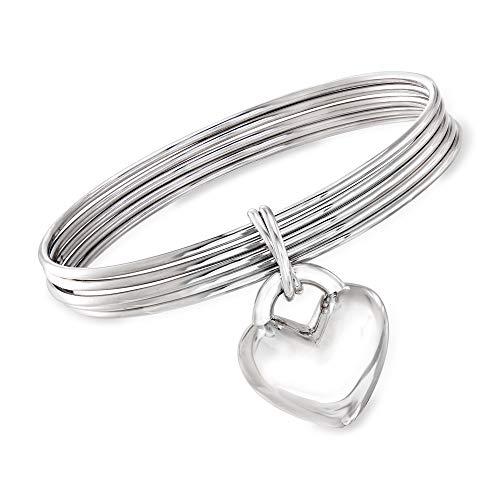 Ross-Simons Italian Sterling Silver Bangle Bracelet With Heart Charm