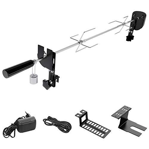 SHYOSUCCE Grillspieß Set mit 2 Fleischnadeln, Motor, USB Leitung und Adapter Verbindung, Elektrischer Drehspieß für Kugelgrill, Holzkohlegrills, Gasgrills und Rotisserie, Einstellbare Länge 69-137cm