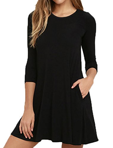 VIISHOW Women's Long Sleeve Casual Loose T-Shirt Dress Black M