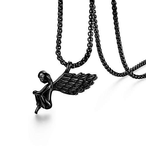 Collar Ángel Colgante Collar Lucky Angel Wings Collar Plata Acero Inoxidable Niño Alas Collares Joyería De Cadena Larga para Mujeres Hombres Negro
