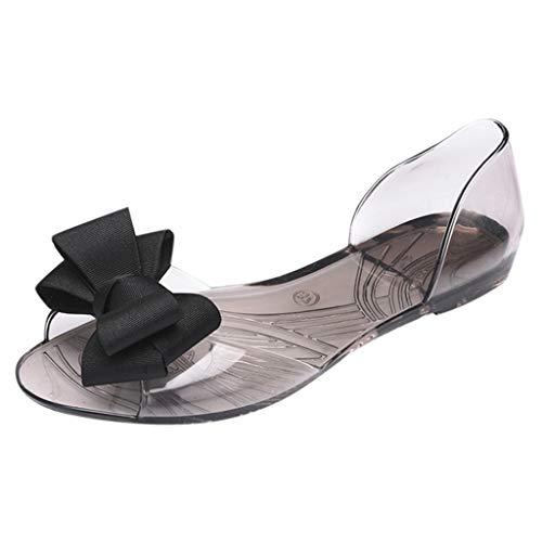 Sandale de Plage Femme Soldes Chaussures Plates d'été Poissons Bouche Jelly Loafers Slip-on Shoes Claquettes Pantoufles avec Noeud