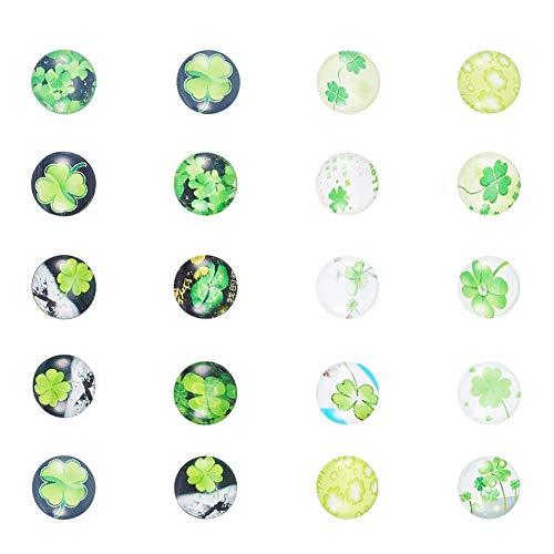 PandaHall 20 Stück Grün Farbe Vierblättriges Kleeblatt Bild Halbrund Kuppel Glascabochons, Größe 12x4 mm