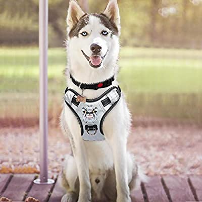 Babyltrl Silver Big Dog Harness No-Pull Anti-Tear Adjustable Pet Harness Reflective Oxford Material Soft Vest for Medium Large Dogs Easy Control Harness
