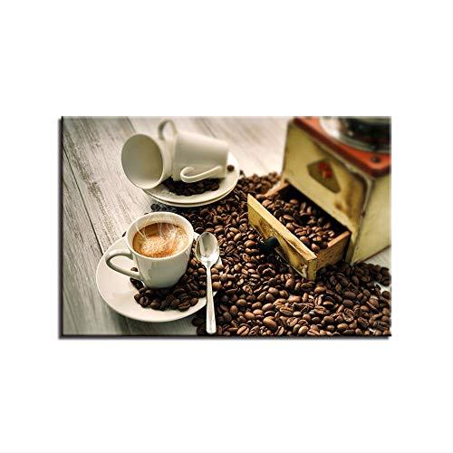 LWJZQT Leinwanddrucke Hd Druckt Bilder Home Decor Poster 1 Stück Kaffeebohnen Gemälde Dämpfende Kaffeetasse Auf Leinwand Küche Wandkunst 50×70cm
