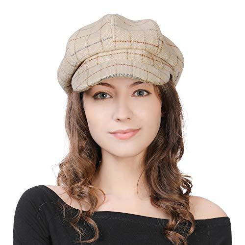 Comhats Damen Wollmischung Ballonmütze Wintermütze Kappe 55-58cm Beige