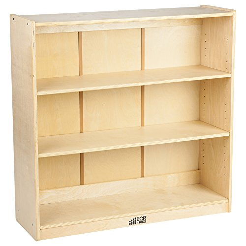ECR4Kids 36 in H Birch Bookcase with Adjustable Shelves, GREENGUARD Gold Certified Wooden Book Display for Kids, 3 Shelves, Natural Book Shelf Organizer for Homeschool and Classrooms
