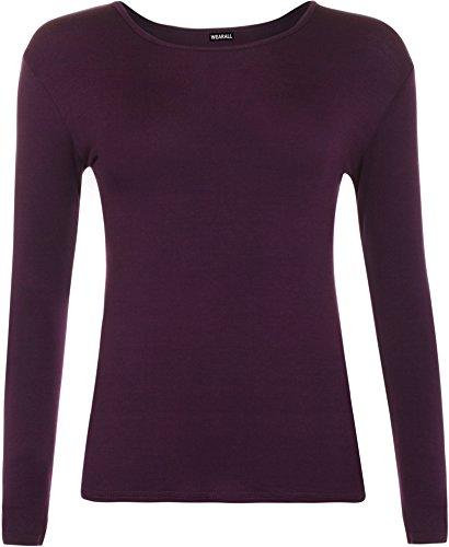 Damen-T-Shirt, Übergröße, langärmelig, Stretch, einfarbig, Größen 44-48 Gr. 38-40, violett