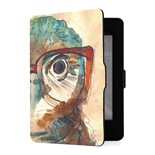 Kindle Paperwhite 1 2 3 Hülle, Wise Owl Big Eyes Hipster Brille Pu Ledertasche...