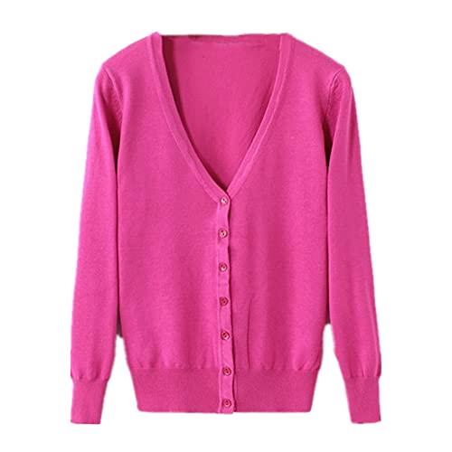 Suéter de punto Cardigan Botón Chaqueta Primavera y Otoño V-Cuello Suelto Tamaño Grande