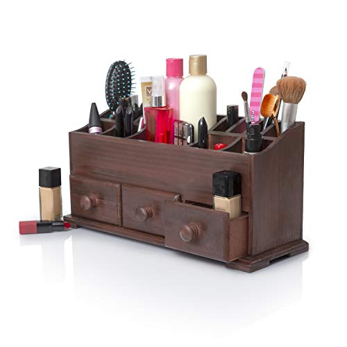 Vanity Drawer Beauty Organizer 3 Drawers - Wooden Cosmetic Storage Box for Neat & Organize Storing of Makeup Tools, Small Accessories at Home & Office Vanities & Bathroom Counter-top (Rustic Brown)