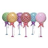 Toyvian 6 Piezas 18 Pulgadas Lollipop Globo de Aluminio de la película de la decoración de la Mesa del Globo para la Fiesta de cumpleaños