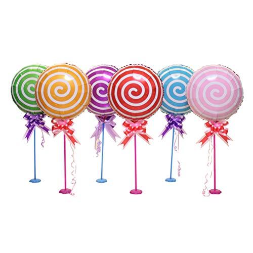 Toyvian 18 Pulgadas Lollipop Globo de Aluminio de la película de la decoración de la Mesa del Globo para la Fiesta de cumpleaños 6pcs