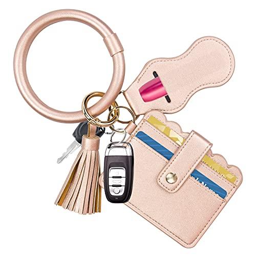 Tanosan, bracciale portachiavi con portafoglio, portachiavi a forma di cerchio, con tasca per carte di credito, in pelle, con nappe e supporto per Charpstick, da donna