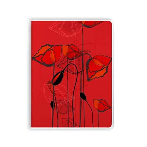 Notizbuch mit roten Blumen, abstrakte Kunst, Linie, Malerei, Mais, Gummi-Einband,...