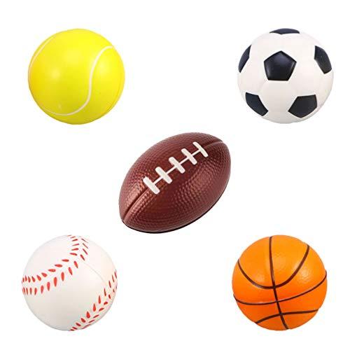 Tomaibaby Bolas Deportivas de Espuma Divertidas 5 Piezas de Baloncesto Béisbol Tenis Rugby Pelotas de Estrés de Fútbol para Niños Adultos Interiores Y Exteriores