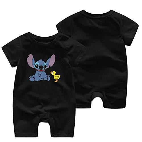 Ajiusmm Lilo & Stitch Comfortable Baby Short Sleeve Jumpsuit Kid Baby Pajama Sleeper Cotton Romper Black