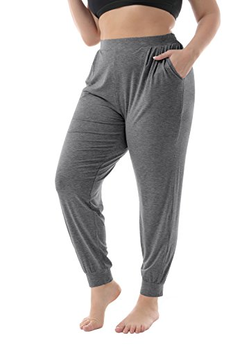 ZERDOCEAN Women's Plus Size Casual Stretchy Relaxed Lounge Pants Dark Gray 2X