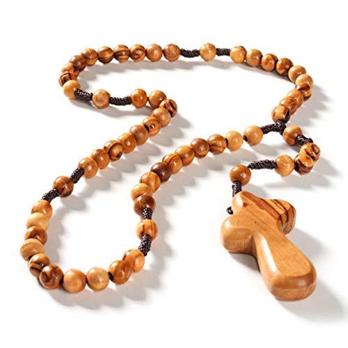 KASSIS Olivenholz Rosenkranz mit Handkreuz 45 cm mit runden Perlen handgemacht in Bethlehem