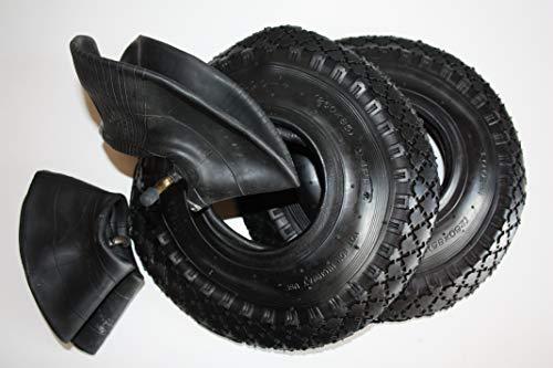 2 Stück HKB ® 4 PR Reifen Mantel Decke Ersatzrad mit Schlauch Winkelventil für Sackkarre Handwagen Schubkarre Quad 3,00-4 260mm, 2 Stück, 700517