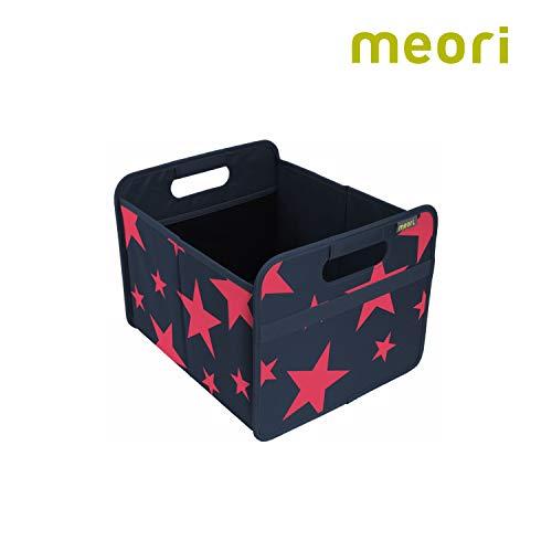 Faltbox Classic Medium Marine Blau / rote Sterne 32x37x27,5cm abwischbar stabil Polyester Schreibtisch Badezimmer Flur Staubox Stifte Accessoires Aufbewahren