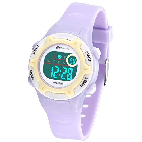 Reloj Digital para Niños Niña,Chicos Chicas,Impermeabl Deportes al Aire Libre LED Multifuncionales Relojes de Pulsera con Alarma/Cronómetro para Niños,Niñas (Morado-8203)