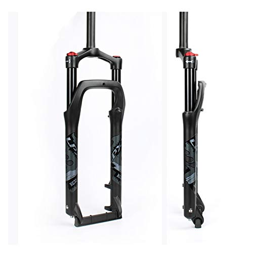 Yuanfang NUE Bike Suspension Fat Tire Fork For Snow/Beach Bike MTB 20/26 Inch Lightweight Bike Shock Absorber Aluminum Alloy Air Fork Manual Lockout Straight Tube CN (Color : Grey, Size : 20')