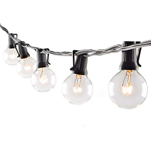 Goothy Globe String Lights 100Ft with G40 105 Clear Bulbs (5 Spare) Outdoor Garden Party Patio Bistro Market Cafe Hanging Umbrella Lamp Backyard Lights - Black