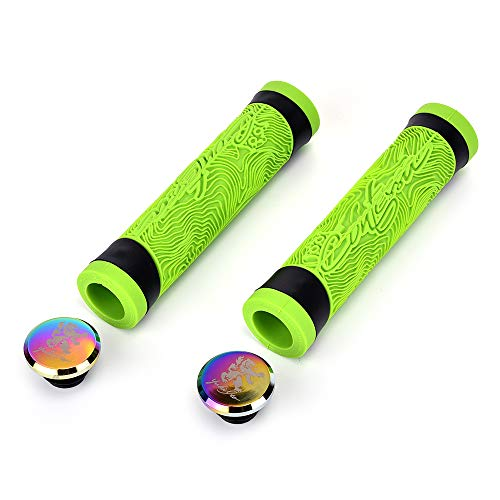 Lypeat Bike Handlebar Grips, Soft Non-Slip-Rubber Bicycle Handle Grip with End Caps for BMX, Mountain, MTB, Scooter, Folding Bike (Green)