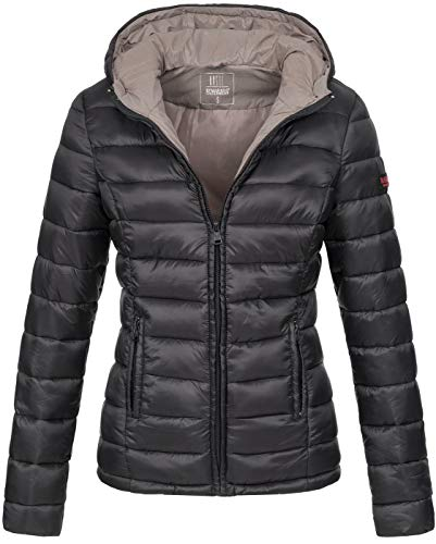 Marikoo Damen Jacke Steppjacke Herbst Winter Übergangsjacke gesteppt B651 [B651-Luc-Schwarz-Gr.L]