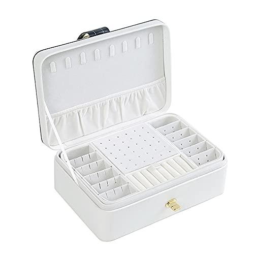 Pequeña Joyero Viaje Decorativas Cajas para Joyas Jewelry Organizer para Mujer Caja Joyero Caja De Joyas Estuche Rectangular para Guardar Joyas Pendientes Anillos Y Collares (Color : White)