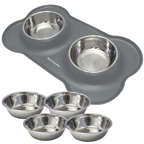 Silikon Napfunterlage mit 4x400ml Edelstahl Näpfen I Für Katzen und kleine oder mittlere Hunde I 45 x 27cm (Grau)