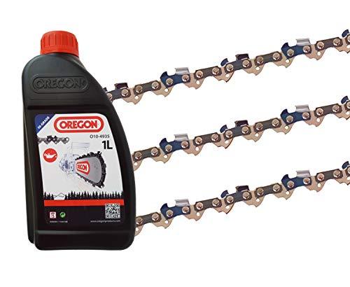 3 x gardexx Sägekette für Scheppach CSE 2500 + 1L Kettenöl