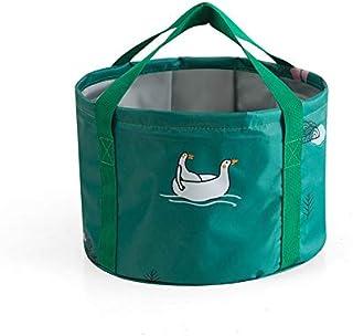 TT WARE 30x20cm Folding Basin Portable Washbasin Bucket Camping Travel Washing Bucket Bag-Green
