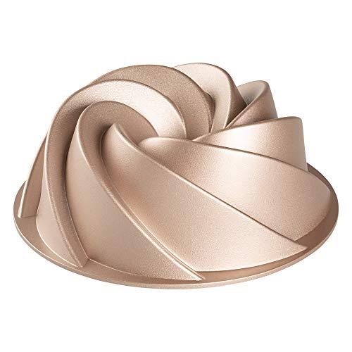 Erreke – Molde para Tartas, Antiadherente, Hecho con Aluminio Fundido Muy Resistente, Color Oro Rosa, 24x24x10cm, Forma de Espiral.