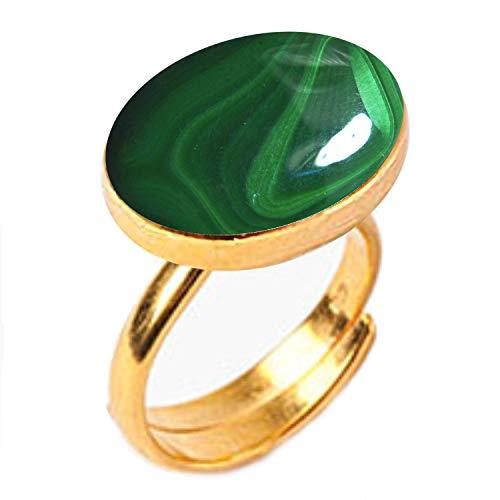 GemsOnClick Natural Malachite Adjustable Ring 18k Gold Plated Dana Stone Rashi Ratan- Adjust Size H to P (UK)