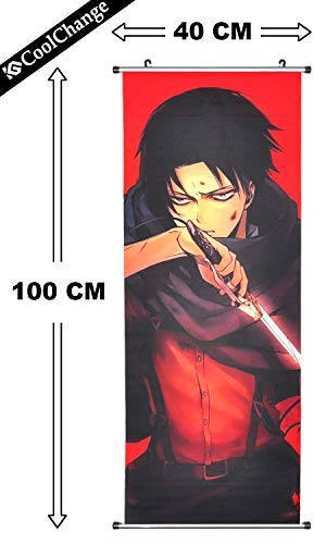 CoolChange Großes Attack on Titan Rollbild | Kakemono aus Stoff | Poster 100x40cm | Motiv: Levi Ackermann B