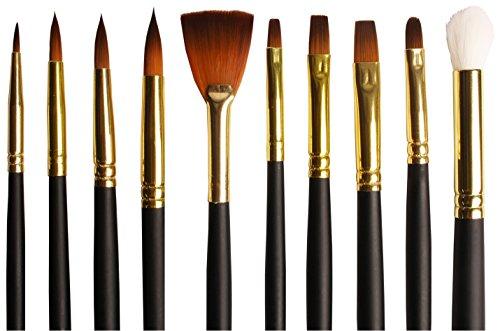 Set di pennelli assortiti - per acqurelli, acrilici o colori a olio - setole in taklon - astuccio in