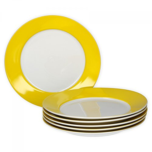 VAN WELL 6er Set Frühstücksteller Serie Vario Porzellan - Farbe wählbar, Farbe:gelb