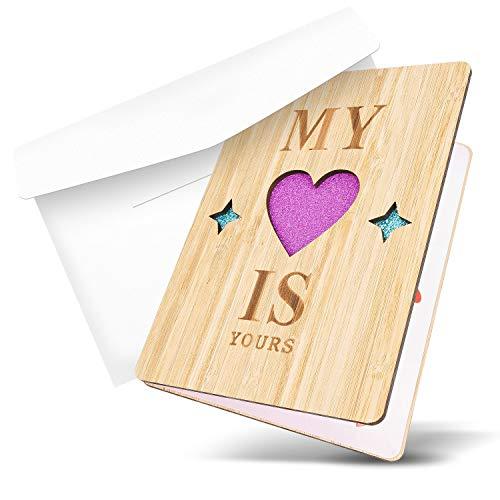 Tarjeta Felicitacion, Tarjeta Postal de Bambú, Tarjetas Agradecimiento Boda de Bambú con un Sobre para el Día del Padre, para Cumpleaños, Bodas, Invitación, San Valentín y Aniversario