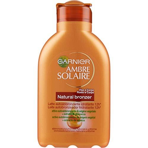 Garnier Ambre Solaire Protezione Solare Natural Bronzer, Latte Autoabbronzante Idratante con Olio di Albicocca, 150 ml
