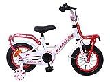Amigo Sweetheart - Bicicleta Infantil de 12 Pulgadas - para niñas de 3 a 4 años - con V-Brake, Freno de Retroceso, portaequipajes Delantero, Timbre y ruedines - Blanco