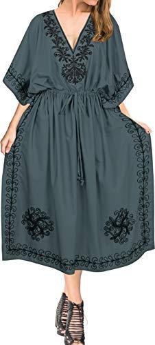 LA LEELA Mujeres caftán Rayón túnica 3D HD Impreso Kimono Libre tamaño Largo Abaya Vestido Jalabiyas de Fiesta para Loungewear Ropa de Dormir Playa Todos los días Cubrir Vestidos Gris_J834