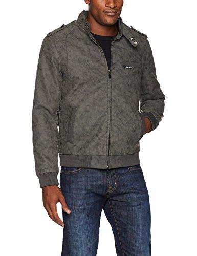 Members Only Men's Vegan Leather Iconic Racer Jacket, Nubuck Grey, XL