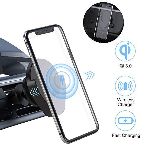 Fast Car Wireless Charger, Cenawin draadloze oplader auto telefoonhouder ventilatie houder met QC-auto-adapter voor iPhone 11 Pro Max / 11 Pro / 11 / XS/XR/XS, Samsung S10 S9 S8