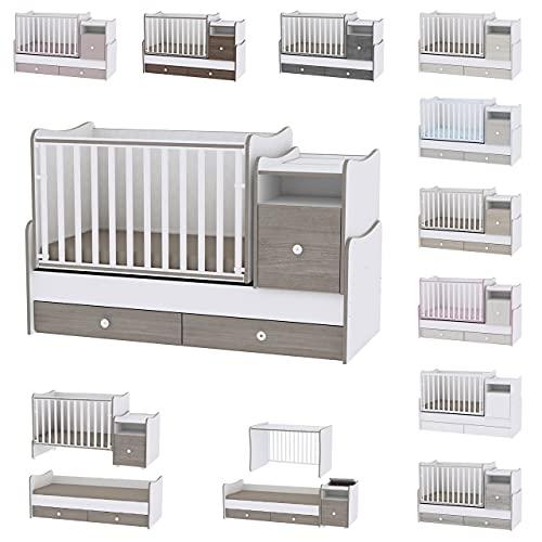 Lit bébé évolutif/combiné Trend Plus blanc/café Lorelli (Le lit se transforme en : lit d'adolescent, bureau, armoire multi-fonction)