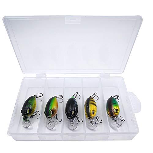 hjbds 5 unids/Set 8g4cm Crankbaits flotantes Wobbler Faroles de Pesca de manivela Cait Whit Box for la Trucha Perca Zander Crappie señuelos Cebo (Color : Type 2)