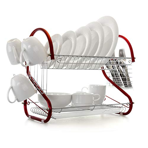 MegaChef Iron Wire Contemporary Dish Drying Rack with Included Hangers, Utensil Compartment, and Drip Tray, 16 Inch, Red and Silver Chrome