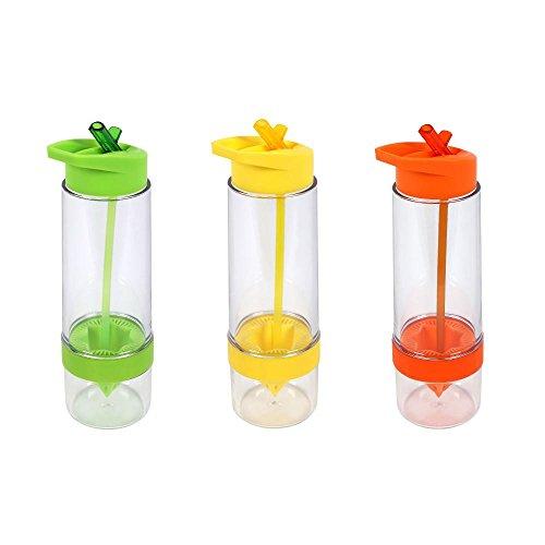 Culinario 3er Set Trinkflasche Fruit, BPA-frei, je 650 ml Inhalt, in grün, gelb und orange